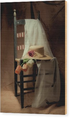 Tulips On A Chair Wood Print by Tom Mc Nemar