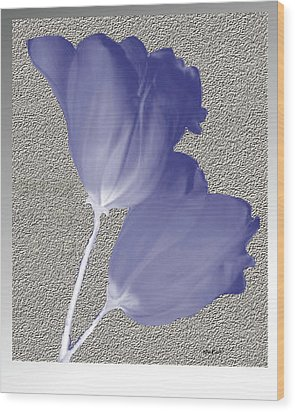 Wood Print featuring the digital art Tulips On Stone by Asok Mukhopadhyay