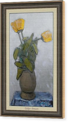 Wood Print featuring the painting Tulips by Pemaro