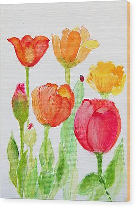 Tulips With Lady Bug Wood Print by Ashleigh Dyan Bayer