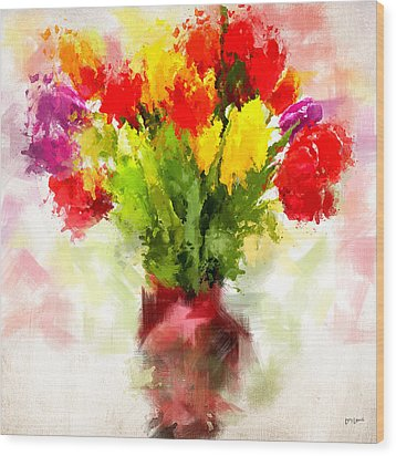 Tulips With Love Wood Print by Lourry Legarde