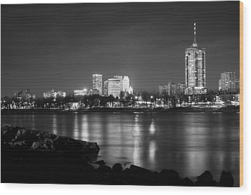 Tulsa In Black And White - University Tower View Wood Print by Gregory Ballos