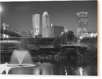 Tulsa Oklahoma Skyline Black And White Wood Print by Gregory Ballos