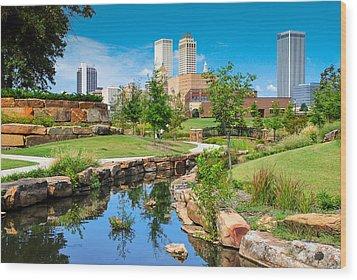 Tulsa Oklahoma Skyline View From Central Centennial Park Wood Print by Gregory Ballos