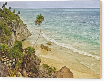 Tulum Beach Wood Print