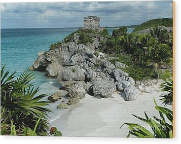 Tulum Ruins In Mexico Wood Print by Polly Peacock