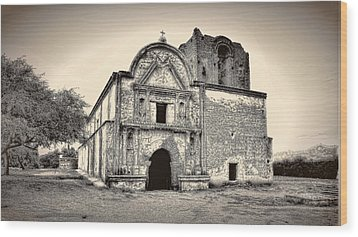 Wood Print featuring the photograph Tumacacori  Mission ... by Chuck Caramella