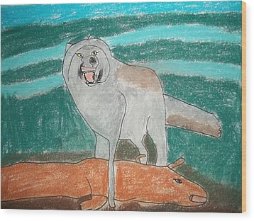 Tundra Wolf Pastel On Paper Wood Print by William Sahir House