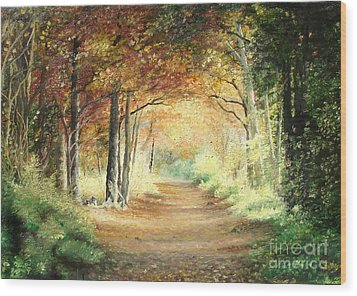 Tunnel In Wood Wood Print by Sorin Apostolescu