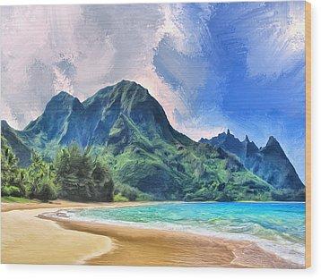 Tunnels Beach Kauai Wood Print