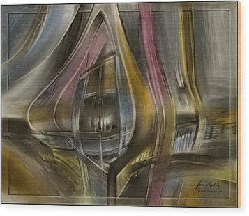Wood Print featuring the pastel Tunnelscape 2010 by Glenn Bautista