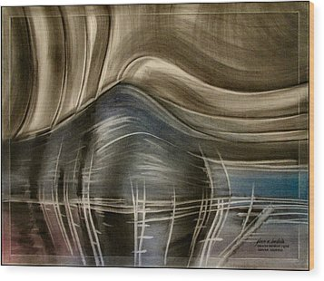 Wood Print featuring the pastel Tunnelscapeb 2010 by Glenn Bautista