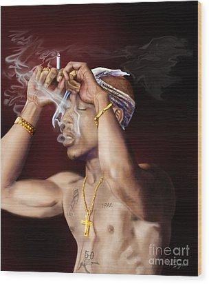 Tupac - Burning Lights Series  Wood Print