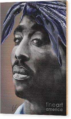 Tupac - The Tip Of The Iceberg  Wood Print by Reggie Duffie