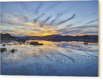 Tupper Lake Sunset Hdr 01 Wood Print