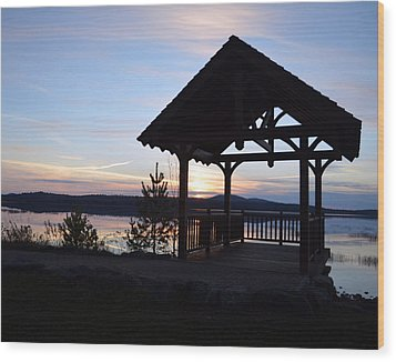 Tupper Lake Sunset Over Raquette Pond Wood Print by Maggy Marsh