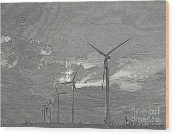 Wood Print featuring the photograph Turbines In Pencil by Jim McCain