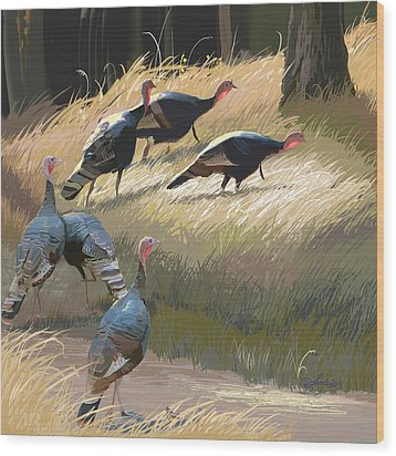 Turkeys In The Fall Sun Wood Print