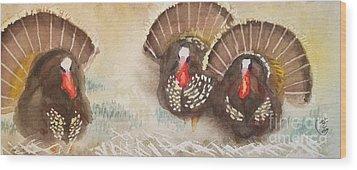 Turkeys Wood Print by Yoshiko Mishina