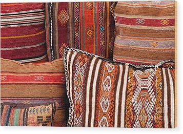 Turkish Cushions 01 Wood Print by Rick Piper Photography