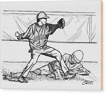 Wood Print featuring the drawing Turn Two by Calvin Durham