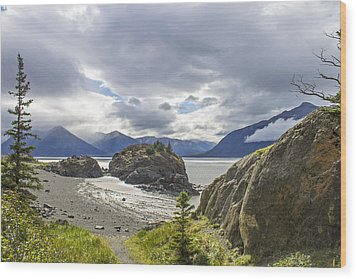 Turnagain Arm Bay Wood Print by Saya Studios