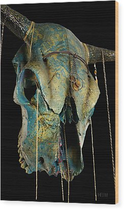 Turquoise And Gold Illuminating Steer Skull Wood Print