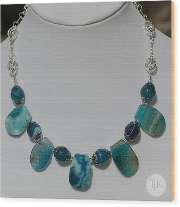 Turquoise And Sapphire Agate Necklace 3674 Wood Print by Teresa Mucha