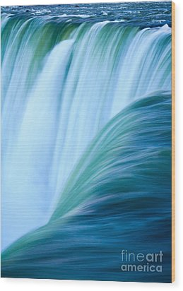 Turquoise Blue Waterfall Wood Print by Peta Thames
