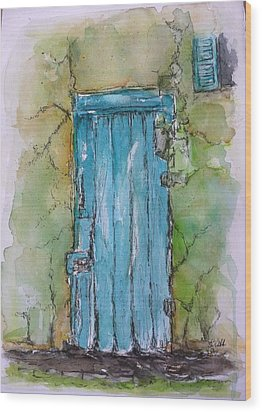 Turquoise Door Wood Print by Stephanie Sodel