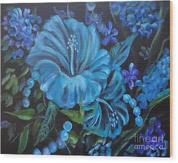 Turquoise Hibiscus Wood Print by Jenny Lee