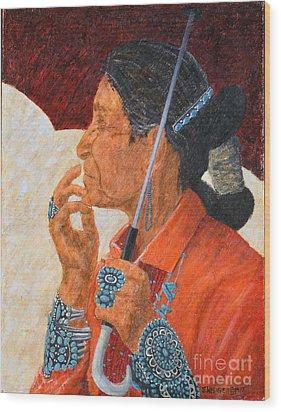 Turquoise Lady Wood Print