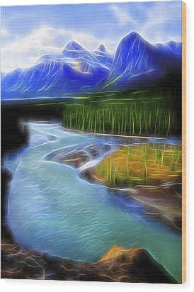 Wood Print featuring the digital art Turquoise Light 1 by William Horden