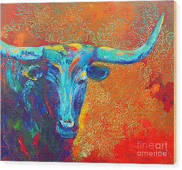 Turquoise Longhorn Wood Print