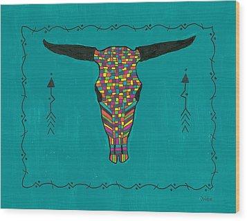 Turquoise Longhorn Skull Wood Print by Susie Weber