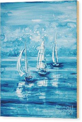 Turquoise Morning Wood Print by Zaira Dzhaubaeva