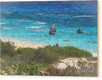 Wood Print featuring the photograph Turquoise Ocean And Pink Beach by Verena Matthew