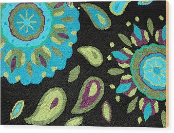 Wood Print featuring the photograph Tapestry Turquoise Rug by Janette Boyd