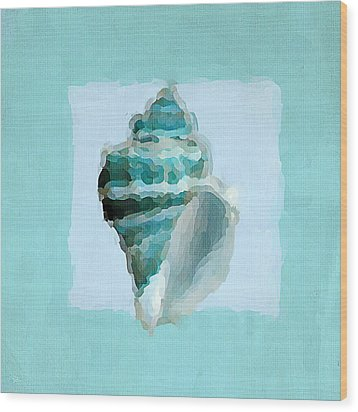 Turquoise Seashells Viii Wood Print by Lourry Legarde