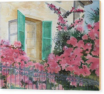 Turquoise Shutters Wood Print by Susan Crossman Buscho