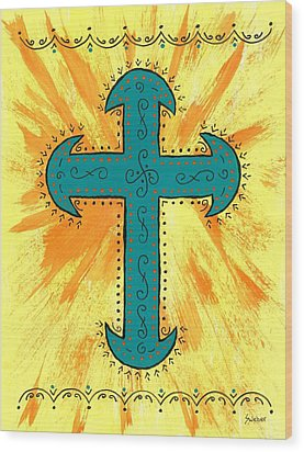 Wood Print featuring the painting Turquoise Southwestern Cross by Susie Weber