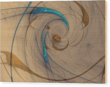 Turquoise Spiral Wood Print