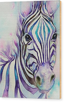 Turquoise Stripes Zebra Wood Print