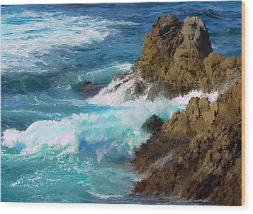 Turquoise Surf II Wood Print