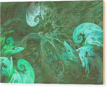 Turquoise Turbulance Wood Print by Minnie W Shuler