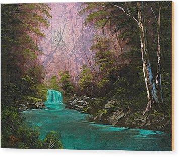 Turquoise Waterfall Wood Print by Chris Steele