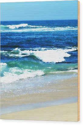 Turquoise Waves... Wood Print by Sharon Soberon