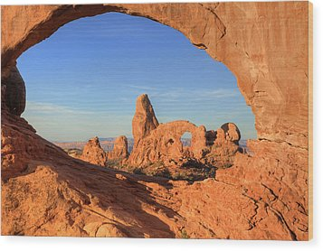 Wood Print featuring the photograph Turret Arch Through North Window by Alan Vance Ley