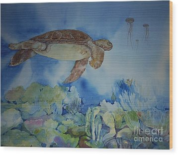 Turtle And Jelly Fish Wood Print by Donna Acheson-Juillet