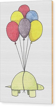 Turtle Balloon Wood Print by Christy Beckwith